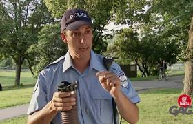 Sewage Pipe Explodes in Cop's Face!
