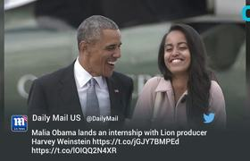 Malia Obama To Intern For Hollywood Producer Harvey Weinstein