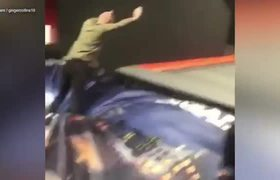 James Collins gets bouncy on a trampoline showing