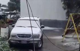 Se registra nevada en La Rumorosa