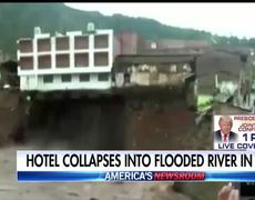 Dramatic hotel collapse into river caught on tape