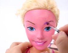 How to Transform Barbie Doll into Trolls Funny Facial Make Up Artist Video DIY
