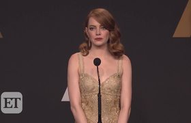 Emma Stone reacts after mistake at Oscars