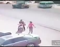 Family is miraculously saved from being run over