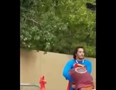 #VIRAL: Superman 'beats up homeless man on the street'…before Batman comes to the rescue