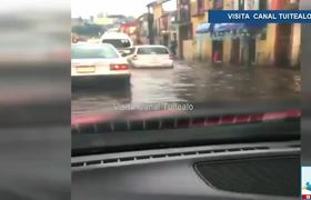 Fuerte lluvia y granizada dejan inundaciones en Tlaxcala