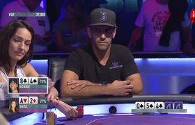 Model participating in poker tournament. When he showed his cards he left everyone speechless