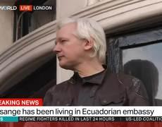 Julian Assange speaks after Swedish prosecutors drop rape case