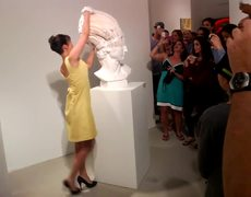 These sculptures are made of stretchable paper