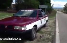 Amarran a perrito a un auto
