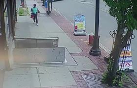 #CCTV: By be checking phone this woman falls to the inside of a drainage system