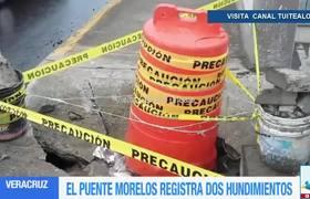 Puente Morelos en Veracruz registra 2 hundimientos