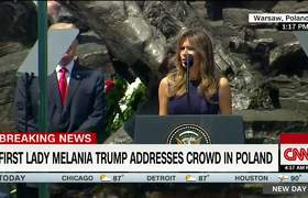 Melania addresses crowd in Poland