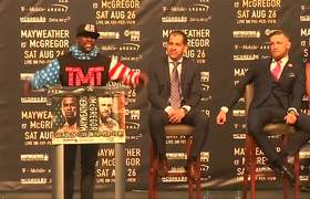 Mayweather and McGregor trade barbs for the cameras