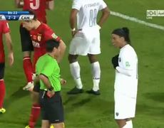 Ronaldinho Red Card after hiting a Guangzhou player