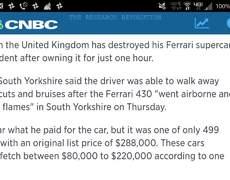 Destroy Ferrari few minutes of buying it