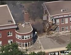 AERIAL VIDEO of building collapse at Minnehaha Academy