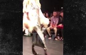 Gigi Hadid Loses High Heel During Fashion Week