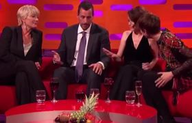 #AdamSandler blasted for repeatedly touching Claire Foy's knee on #GrahamNortonShow