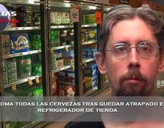 Se toma todas las cervezas tras quedar atrapado en refrigerador