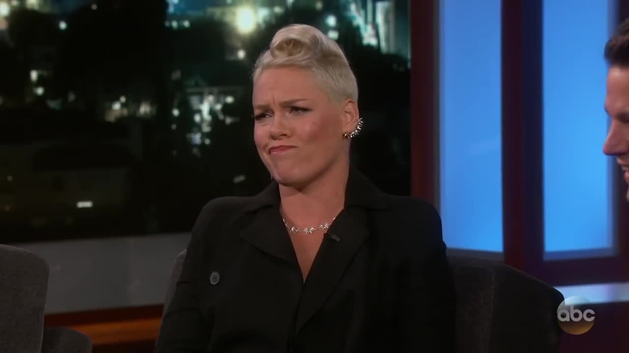 jimmy kimmel live: p!nk's husband told their daughter he ate all her