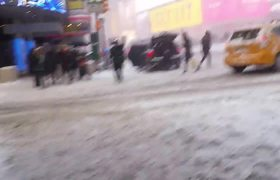 Bomb Cyclone Slams Times Square New York City