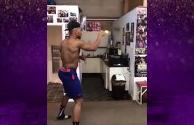 Graham Norton tries out Anthony Joshua's training routine