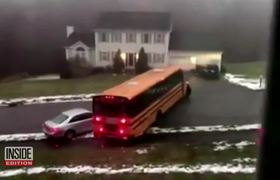 School Bus Full of Kids Loses Control After Driving Over Black Ice