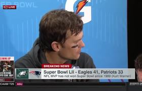 Patriots Tom Brady postgame interview after Super Bowl loss to Philadelphia Eagles.