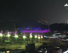 Fuegos artificiales en Pyeongchang para Ceremonia de los Juegos Olimpicos de Invierno