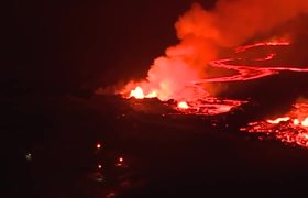 Aerial View: Red Lava Rivers From Hawaii's Kilauea Volcano