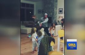 Chris Hemsworth rocks out to Miley Cyrus hit with his kids