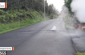 Moment When Volcanic Lava Suddenly Engulfs A Street In #Hawaii