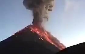 Momento Exacto Erupción Volcán de Fuego Guatemala