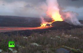 Apocalyptic Scenes: Kilauea volcano lava river flows in Hawaii