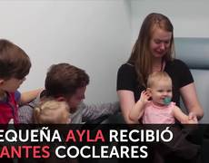 Emotional reaction of a small baby when hearing for the first time