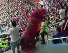 A 'lady' attacks a 'dinosaur' during a World Cup match