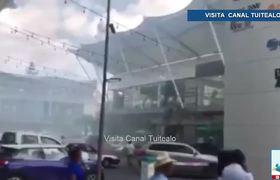 Se registra incendio al interior de Plaza Mazari en Oaxaca