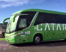 Brazilians fans attack the Brazil football team bus