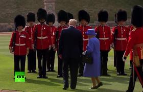 Donald Trump blocks Queen Elizabeth's way at official function