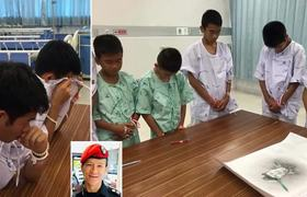 With tears of children rescued in Thailand upon learning of the death of one of the divers
