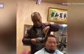Chinese barber uses an ANGLE GRINDER to cut customers hair