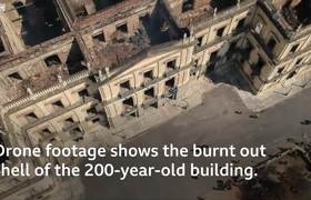 Brazil museum fire: Drone footage