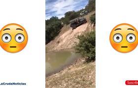 Por poco y se Mueren aplastados por su Jeep en la Presa