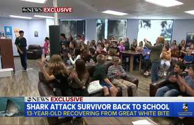 13-year-old shark attack survivor returns to school