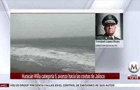 Huracán Willa categoría 5, avanza hacia las costas de Jalisco
