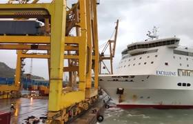 #VIDEO: Barcelona Port Catches Fire After Ferry Crashes Into Crane