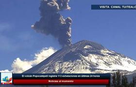 El volcán Popocatépetl registra 113 exhalaciones en últimas 24 horas
