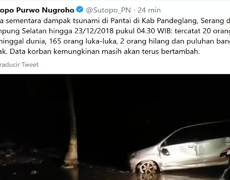 Tsunami images triggered by volcano eruption in Indonesia