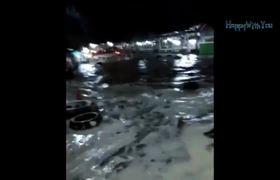 Tsunami in Indonesia West Java Due to Krakatoa Volcano Eruption